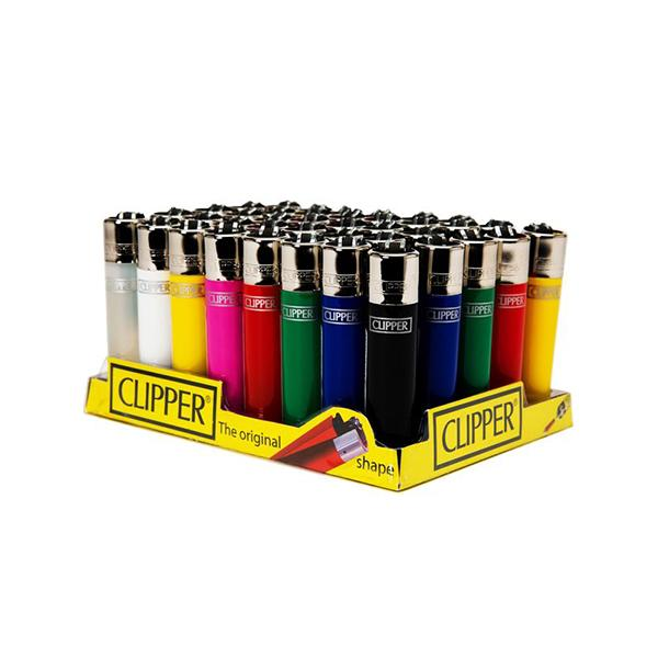 40 Clipper Solid Colour Refillable Classic Lighters
