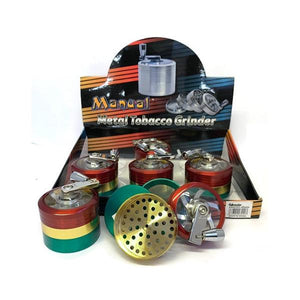 6 x 4 Parts 4Smoke Manual Metal Rasta Design Grinder - HX057SY-4 RASTA