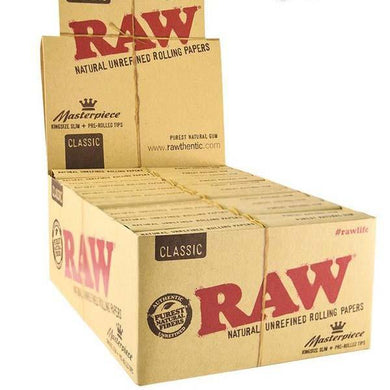 24 Raw Classic King Size Slim Rolling Papers + Tips (Connoisseur)