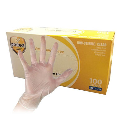 Protect Disposable Vinyl Gloves - 100 Pack (50 Medium Pairs)