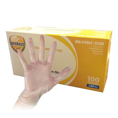 Protect Disposable Vinyl Gloves - 100 Pack (50 Small Pairs)