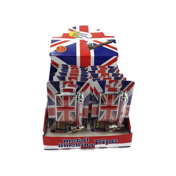 Metal Union Jack Pipe Set with Lighter & Screens - 8CM - TZ1003U