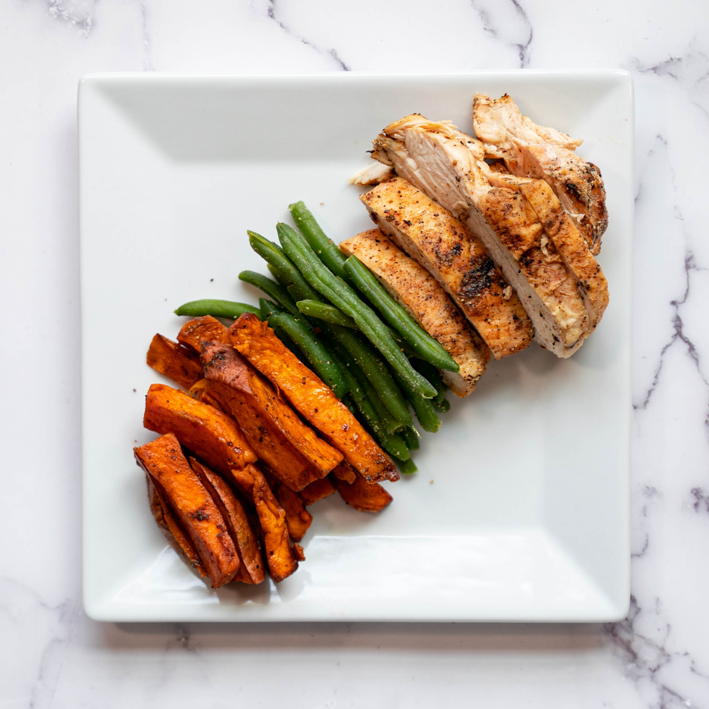 Grilled Chicken & Sweet Potato Fries (& Green Beans)