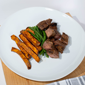 Steak & Sweet Potato Fries  (& Green Beans)