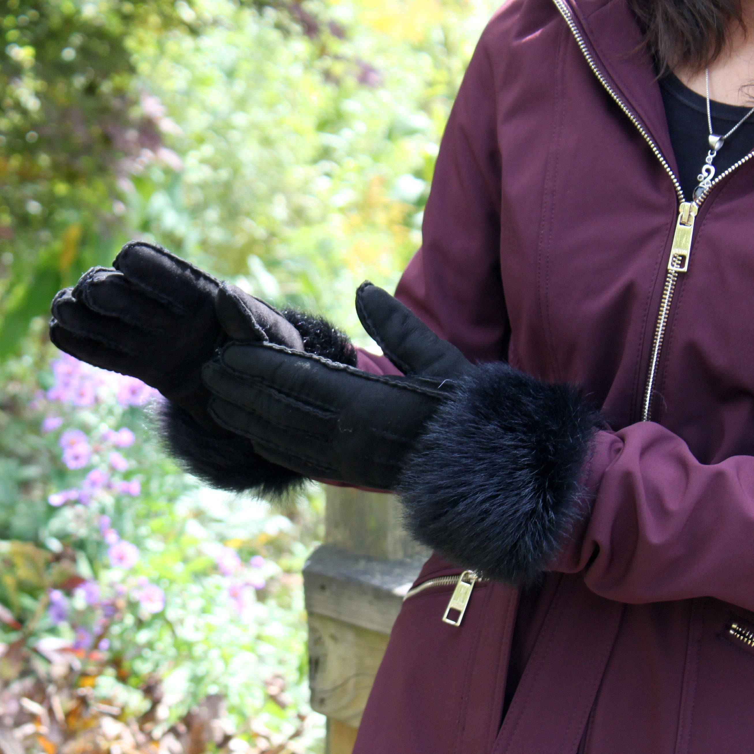 Women's Cuffed Sheepskin Fur Gloves
