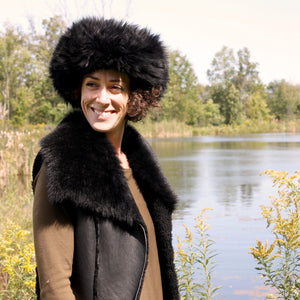 Women's Shearling Sheepskin Fur Vest With Toscana Collar