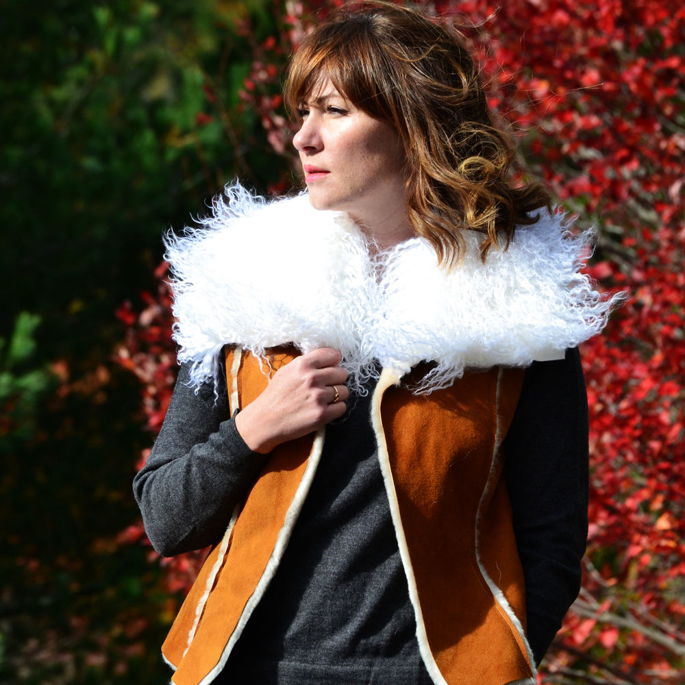 Women's Shearling Sheepskin Fur Vest With Tibetan Fur Collar