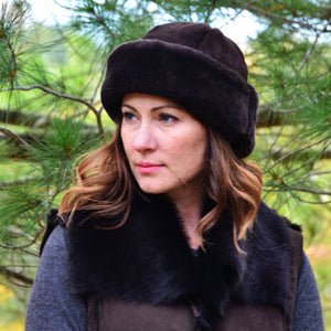 Women's Mouton Round Sheepskin Fur Hat