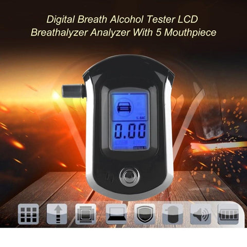 Alcohol Breathalyser Portable Sensitive Breath Tester Accurate Digital Display LCD Lights Convenient Lightweight Pocket Size