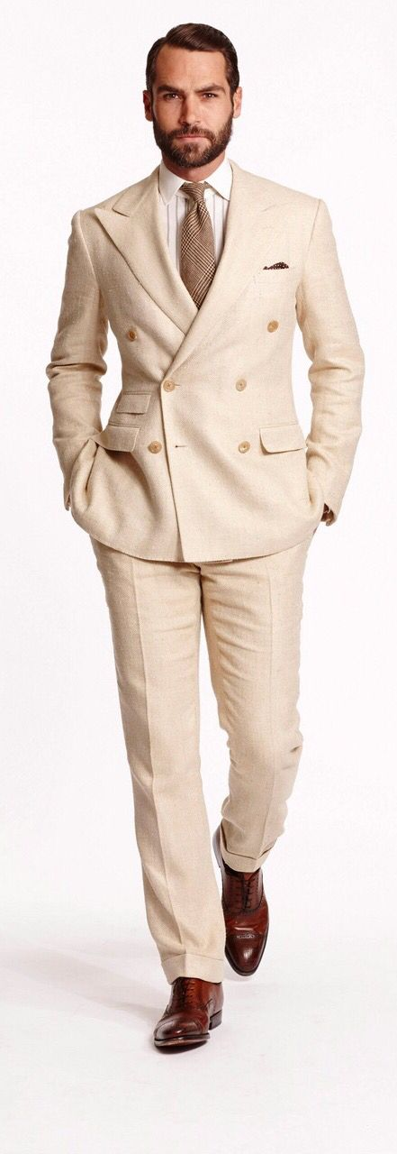 7642d81885 Double Breasted Peaked Lapel Champagne Linen Men Business Dress Suits