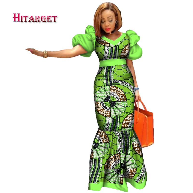 9a153cfe4d7b4 2018 New Bazin Riche African Dresses for Women Print Splice Puff Sleeve  Long Dresses African Dashiki Women Clothing WY2494 1