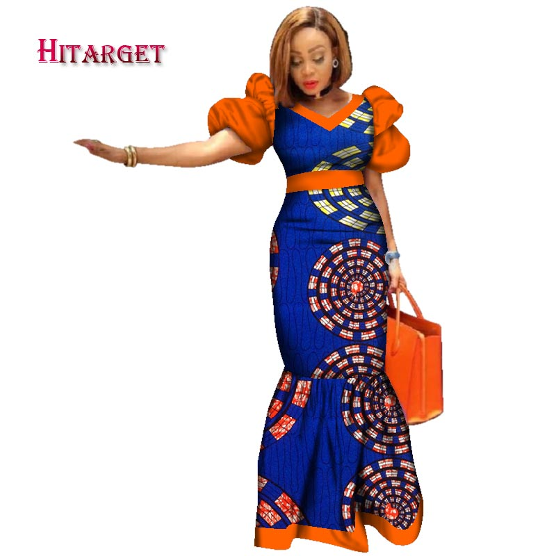 51cfbb462ef 2018 New Bazin Riche African Dresses for Women Print Splice Puff Sleeve  Long Dresses African Dashiki Women Clothing WY2494 1