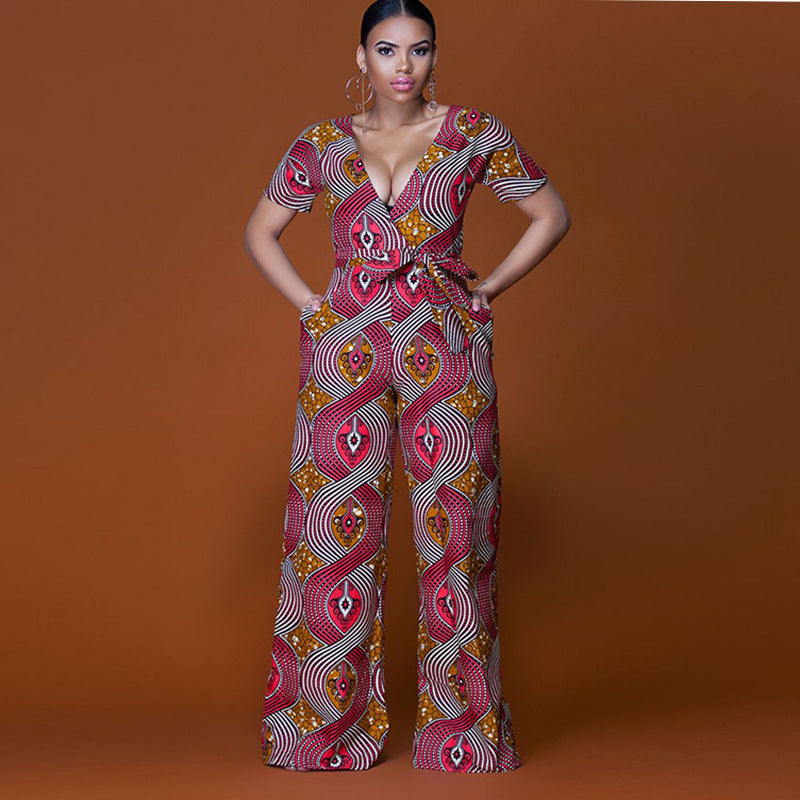 eb019a45b75 2018 New Summer Womens Rompers Jumpsuit Women African Print Clothing Casual  Sexy Low bosom Deep V neck Wide Leg Pants milk silk