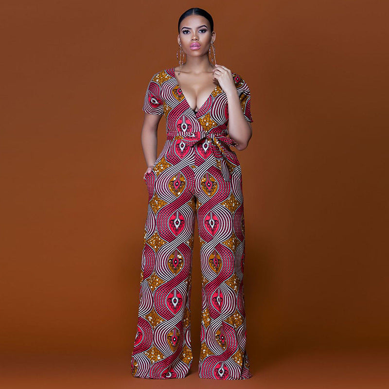 c6ecb2a3e9cf 2018 New Summer Womens Rompers Jumpsuit Women African Print Clothing Casual  Sexy Low bosom Deep V neck Wide Leg Pants milk silk