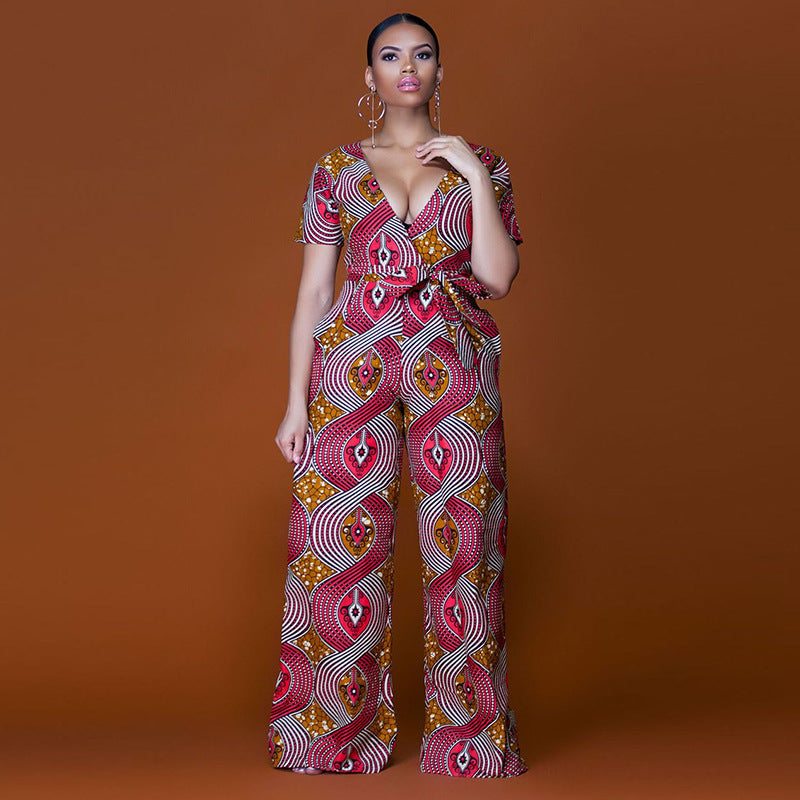 4121dd3d4f 2018 New Summer Womens Rompers Jumpsuit Women African Print Clothing Casual  Sexy Low bosom Deep V neck Wide Leg Pants milk silk