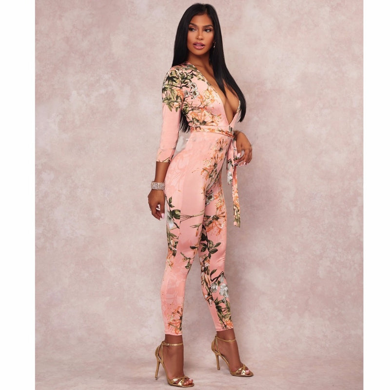 0c941bddd0f 2018 Spring Women Sexy Deep V-neck Flower Print Bodysuit Pink Jumpsuit Plus size  Clothing