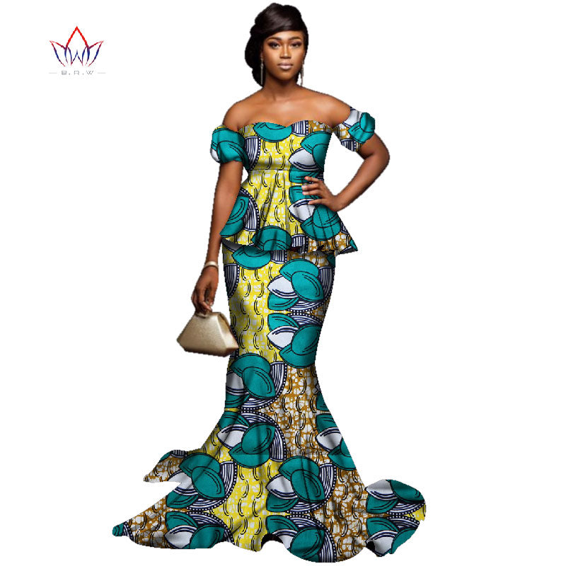 4f610793ce1a 2018 Summer New African Dashiki for Woman set strapless Bazin Riche  sleevelsss Plus Size evening cotton