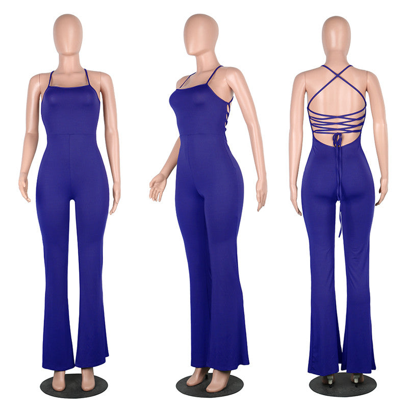 f4c7cfa251f 5 Colors Women Casual Jumpsuit Solid Sexy Backless Bandage Long Rompers  Ladies One Piece Outfits Flare