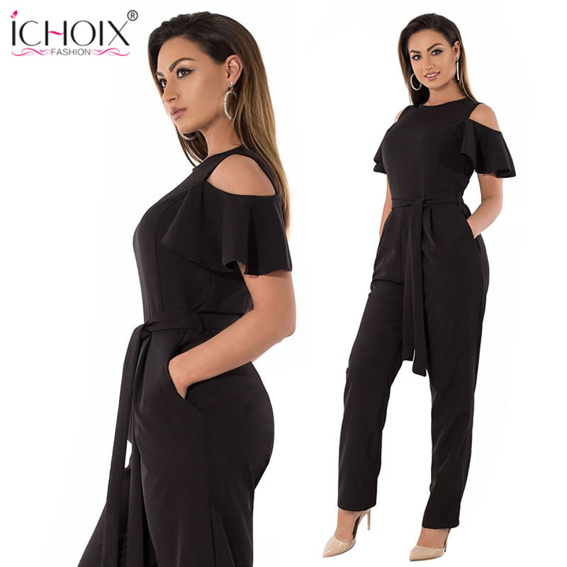 e2587576a2d 5XL 6XL Summer Plus Size Jumpsuit women 2018 Sexy Off Shoulder Big Size  Romper Overall Large