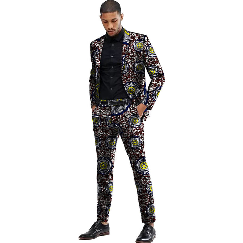 0c83671283 Africa Style Men Suits Dashiki Print Suit Jacket And Pant Together Men  Blazers African Festive Man