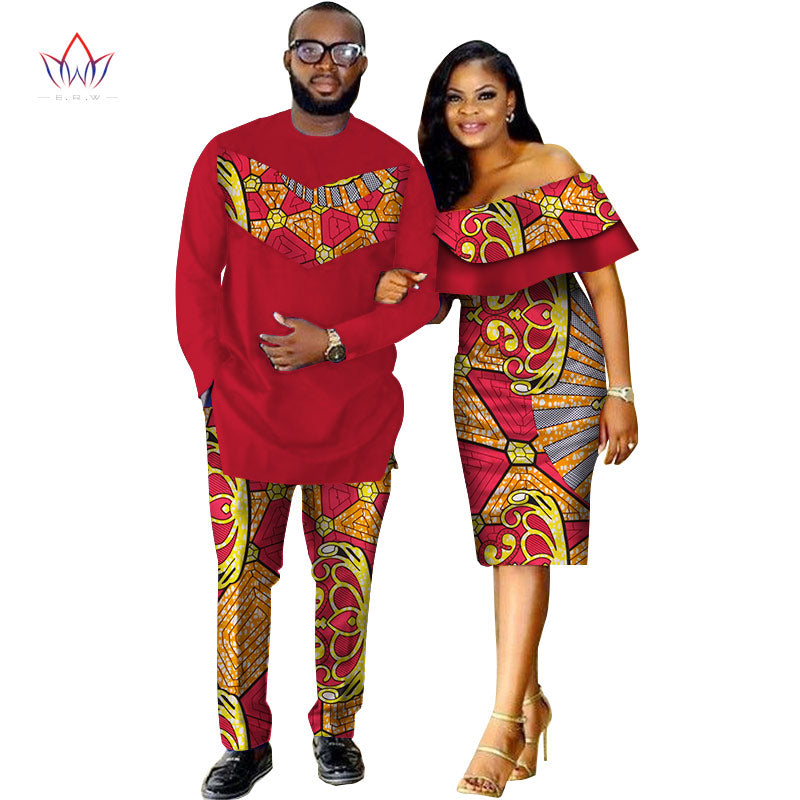 804b33498f Ginavece s African Dashiki Print Couple Clothing for Lovers Two Piece Set  Men s Suit Plus Women s Ruffle