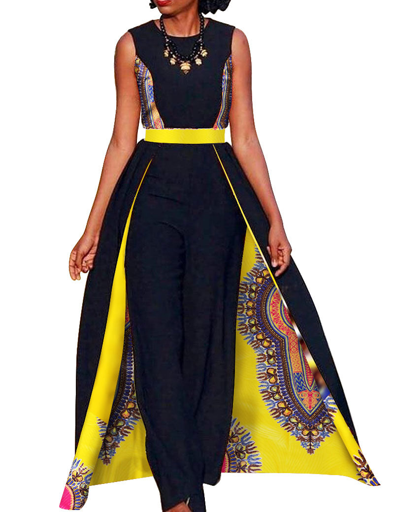43a15e14cb8ba Elegant African Queen s Sleeveless Dashiki Cape w  Pants available in Plus  Size. African Design Bazin Summer Elegant Womens Rompers Jumpsuit ...
