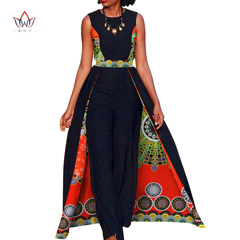 081ec4de0b Elegant African Queen s Sleeveless Dashiki Cape w  Pants available in Plus  Size. African Design Bazin Summer Elegant Womens Rompers Jumpsuit ...