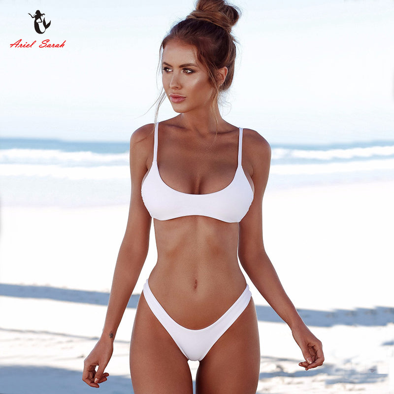 5ba0e5298d2 Ariel Sarah Brand 2018 Push Up Bikini Swimwear Women Swimsuit Solid White  Bikins Set Biquini Bathing Suit Women Bikinis Women