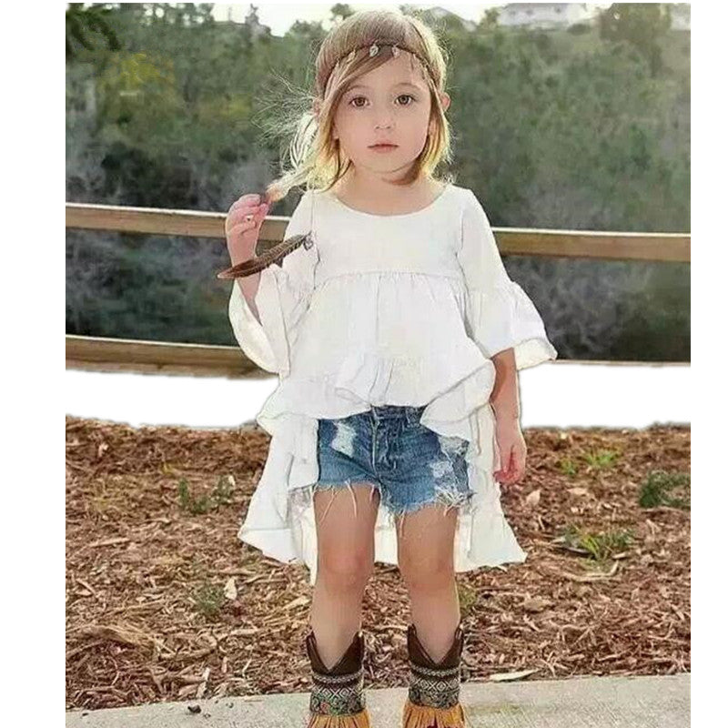 Baby Girls Clothing Set kid fashion jeans pants+Dovetail t-shirt Children  Clothes Set for girl Kids Outfits Clothes 2-7 Years 05f172987