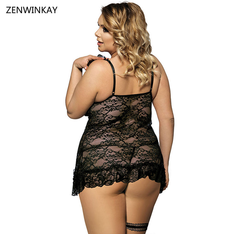 Black Night Wear Women Sexy Babydolls Lingerie Sexy Porn Costumes Erotica  Lengerie Sex Clothes Plus Size