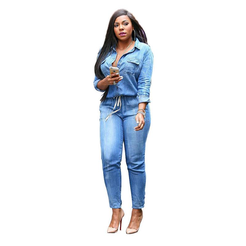 29947f383cb Blue Jean Denim Jumpsuits Women Long Sleeve Full Length Casual Rompers Plus  Size S-XXXL Overalls Women Bandage Playsuits Sexy