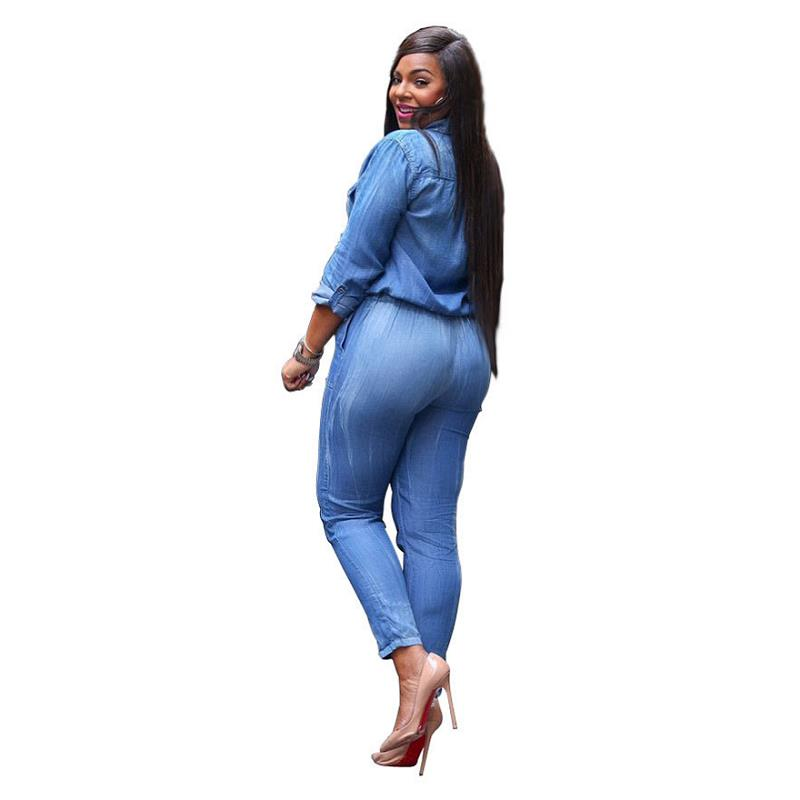 b40590a0b93f Blue Jean Denim Jumpsuits Women Long Sleeve Full Length Casual Rompers Plus  Size S-XXXL Overalls Women Bandage Playsuits Sexy