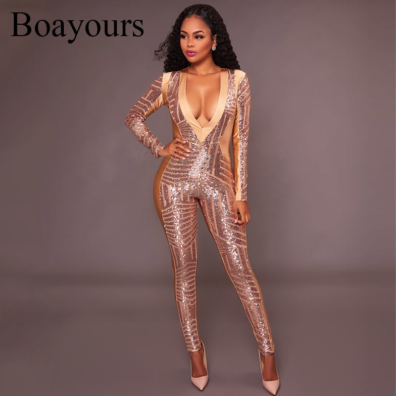 f12eba0329106 Sexy Deep V Long Sleeve Rompers One Piece Playsuit. Boayours Plus Size  Clubwear Gold Sequin ...