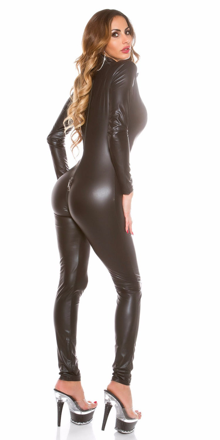 3b1aba97a158 New Hot Women Sexy Shiny Leather Latex Jumpsuit DJ Dance Catsuit Exotic  Clubwear PVC Bodysuit Plus Size XXL