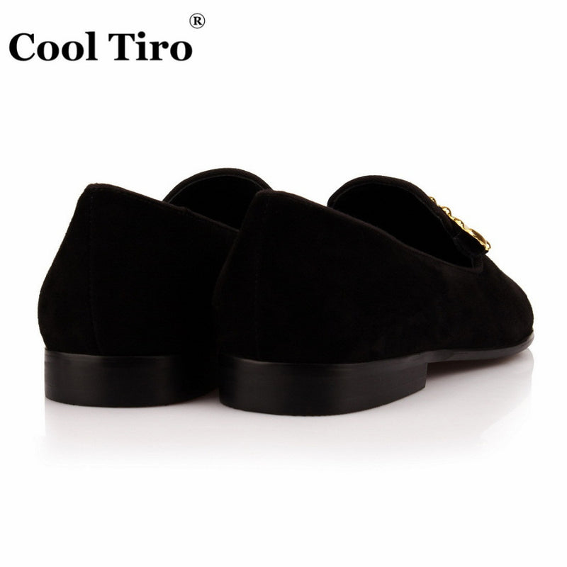 COOL TIROnew Black Sheepskin Golden Leaves men smoking Slippers Fashion  Genuine Leather Causal Shoes Luxury Party 03610bf6e3bf