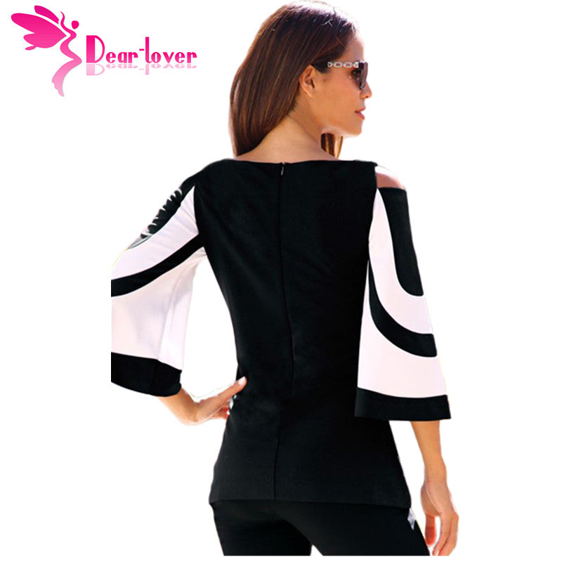 7360ad24c39733 DearLover Women Blouse Black White Colorblock Bell Sleeve Cold Shoulder Top  Mujer Camisa Feminina Office Ladies