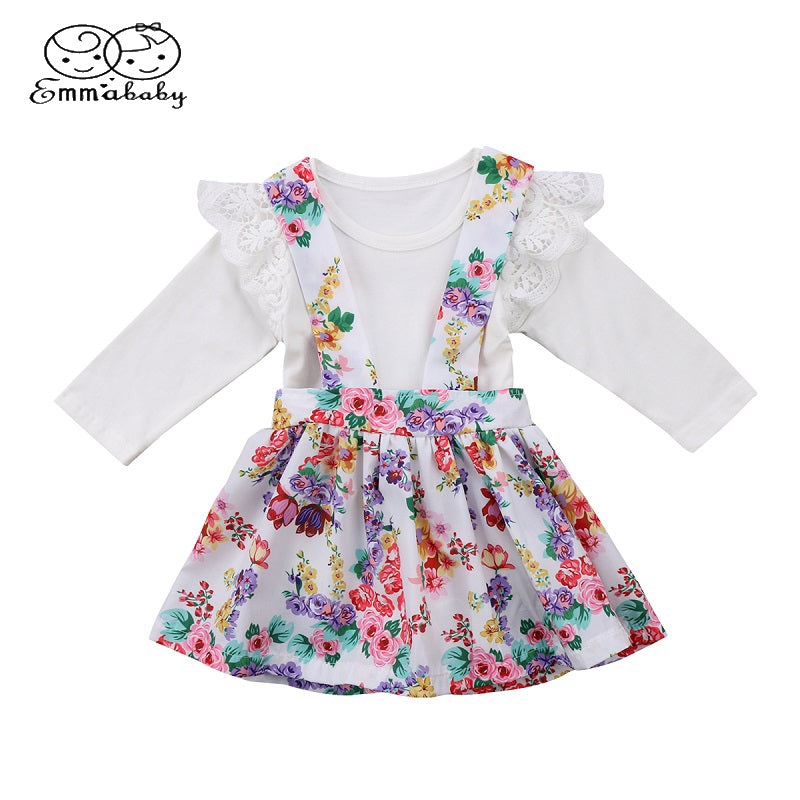 8d7dafbc1408 Emmababy Baby Girls Ruffles Lace Clothing Suits Newborn Kids Tops ...