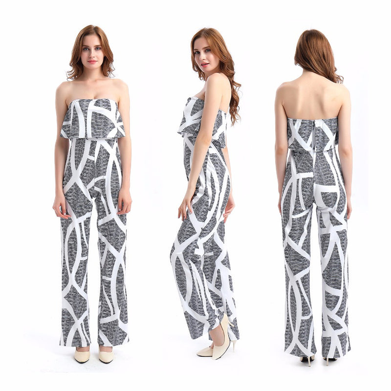 09acf9bc32f Fashion Casual Women Jumpsuit Print Floral Bodysuit Sexy tube Romper Loose  One-piece Plus size