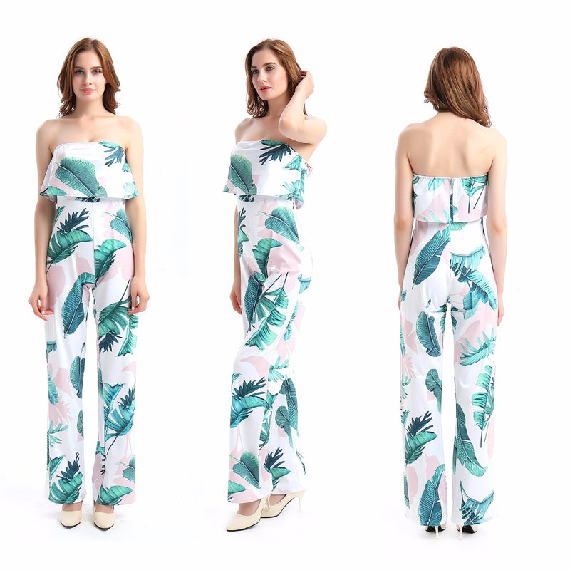 db6bcb03cfd Fashion Casual Women Jumpsuit Print Floral Bodysuit Sexy tube Romper Loose  One-piece Plus size