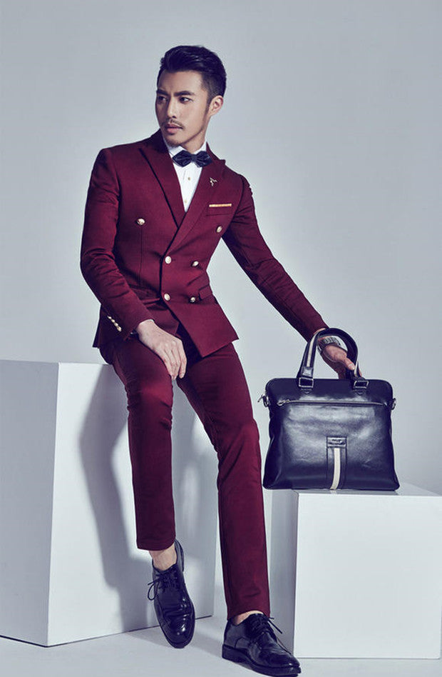 b8547793944 Formal dress suit men male slim wedding suits for men double breasted mens  suits wine red costume ternos masculino fashion 2XL