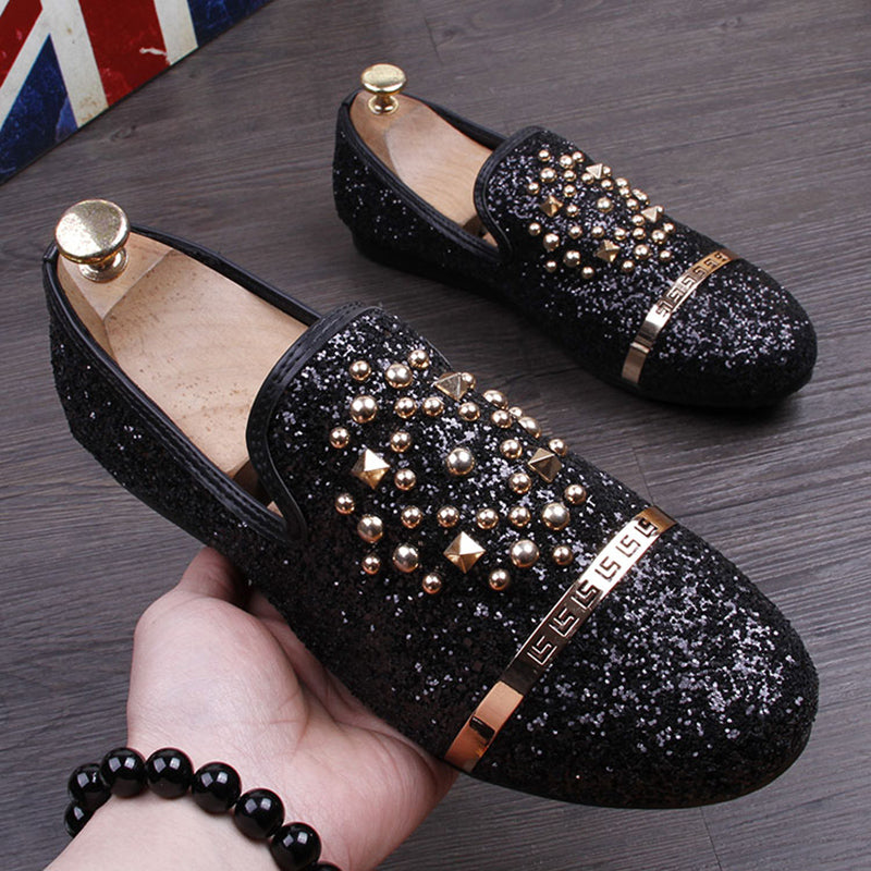 15efac3bfff GZ Fashion Men Sequins Casual Shoes designer Luxury Rivet shoes Men party dress  Shoes Zapatillas Deportivas loafers black  55