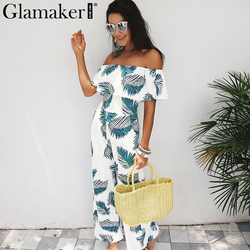 94f3492ecc41 Glamaker Bohemian palm print ruffle jumpsuits rompers Off shoulder plus size  women jumpsuit Summer beach sexy jumpsuit overalls