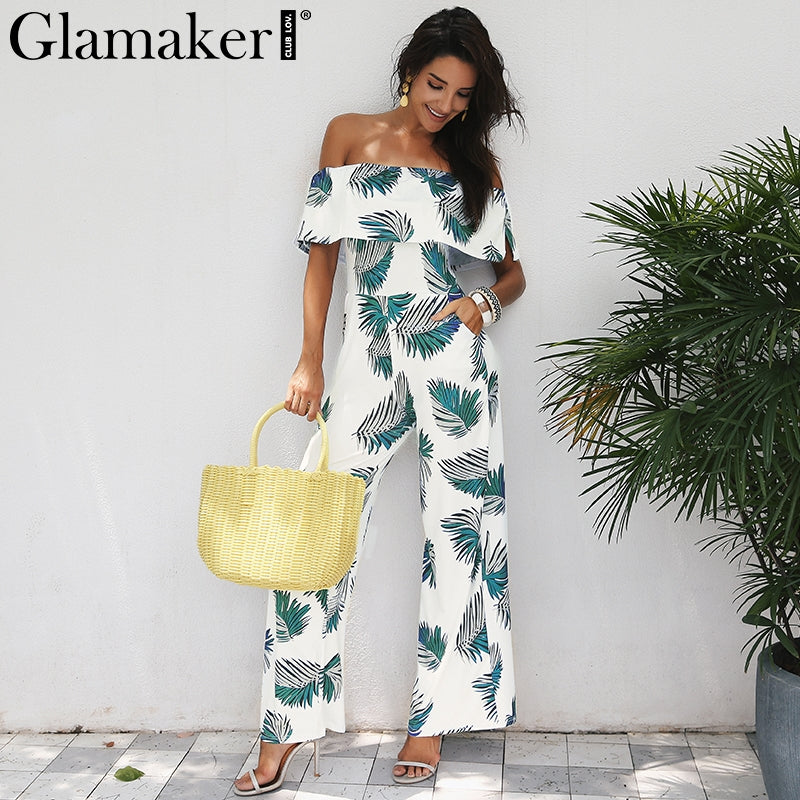 1b330358a8 Glamaker Bohemian palm print ruffle jumpsuits rompers Off shoulder plus  size women jumpsuit Summer beach sexy jumpsuit overalls