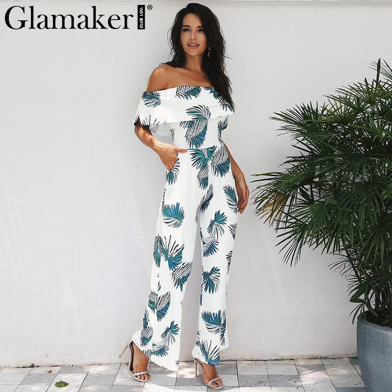 8a1edae68f7c Glamaker Bohemian palm print ruffle jumpsuits rompers Off shoulder plus  size women jumpsuit Summer beach sexy jumpsuit overalls