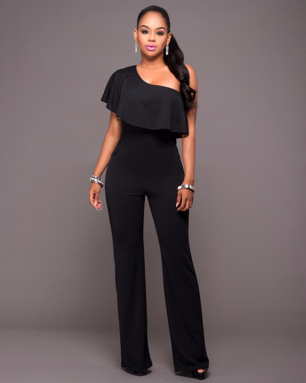 f1b2af1ddf36 Jessie Vinson Ruffles One Shoulder Jumpsuit Plus Size Sexy Solid Color  Sleeveless Rompers Women Jumpsuits Long Pants Playsuit