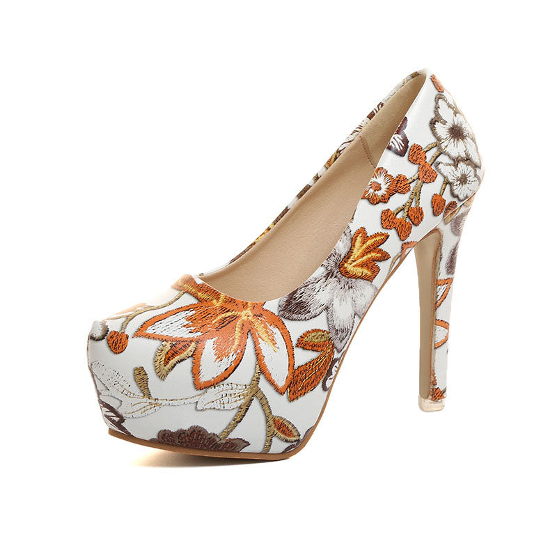 d8e8f34a93b MCCKLE Women Sexy High Heels Platform Stiletto Pumps Ladies Floral Printing  Shallow Slip On Pointed Toe