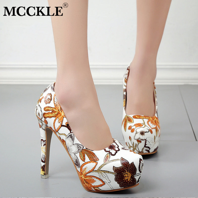 ab18481ee9f1 MCCKLE Women Sexy High Heels Platform Stiletto Pumps Ladies Floral Printing  Shallow Slip On Pointed Toe Office Shoes Plus Soze