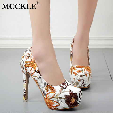 1c3e51a46c14 MCCKLE Women Sexy High Heels Platform Stiletto Pumps Ladies Floral Printing Shallow  Slip On Pointed Toe Office Shoes Plus Soze