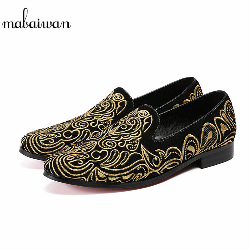 Mabaiwan Men Black Suede Casual Shoes Loafers Gold Embroidery