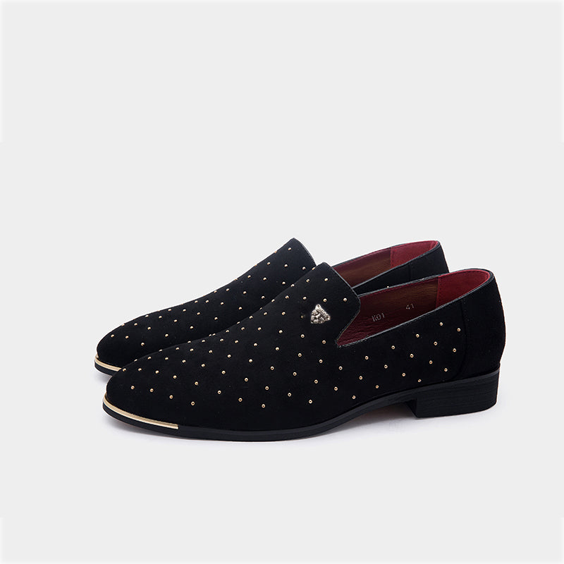 Men gold spike plus size black navy suede leather penny loafers moccasins  slip ons boat shoes smoking wedding dress shoes cfbbf73f063f